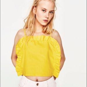 Zara yellow ruffle crop top tank